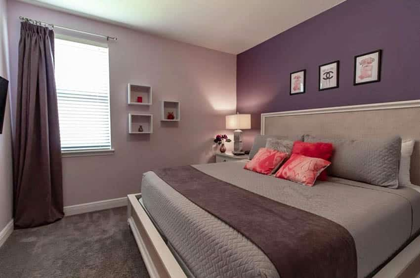 Bedroom with purple paint wall