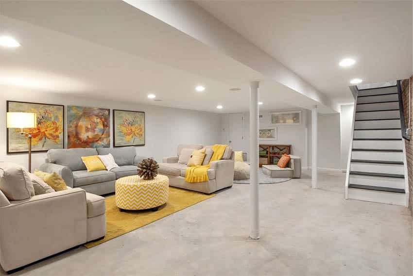 Contemporary Finished Basement With Concrete Flooring And Home Bar