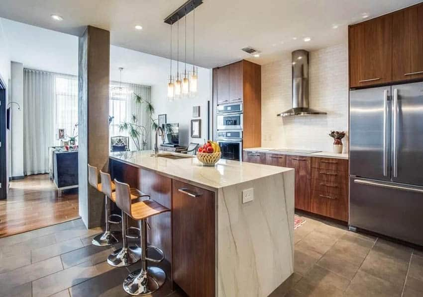 Contemporary kitchen with veneer wood cabinets and quartz countertops