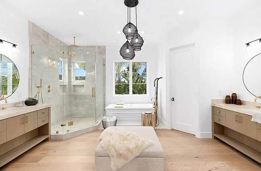 Contemporary Master Bathroom With Rainfall Shower And Window Seat