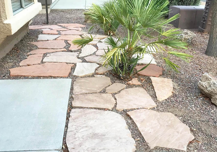 Flagstone And Gravel Backyard Design