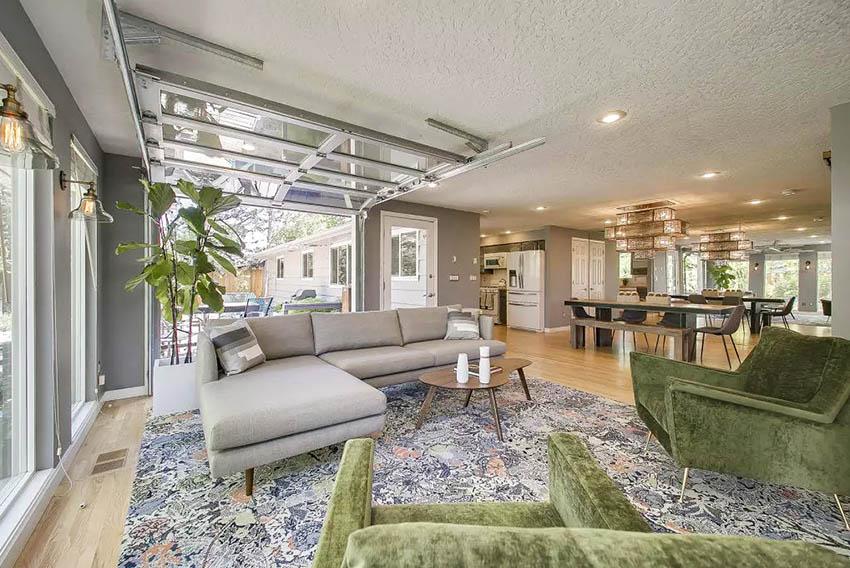 Garage door in living room with open plan design