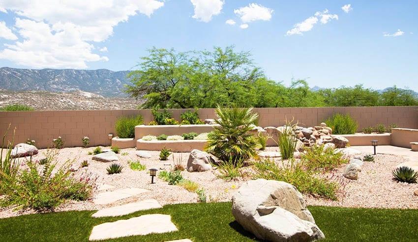 Gravel Backyard With Desert Landscaping