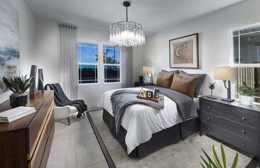 Master bedroom with light gray paint color gray decor