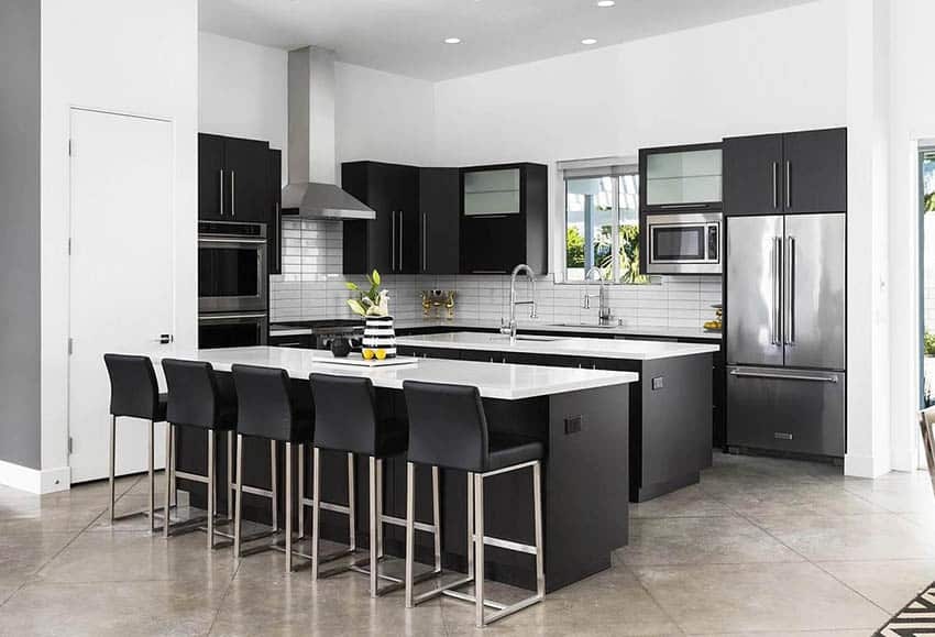 Modern kitchen with two islands black cabinets white quartz countertops