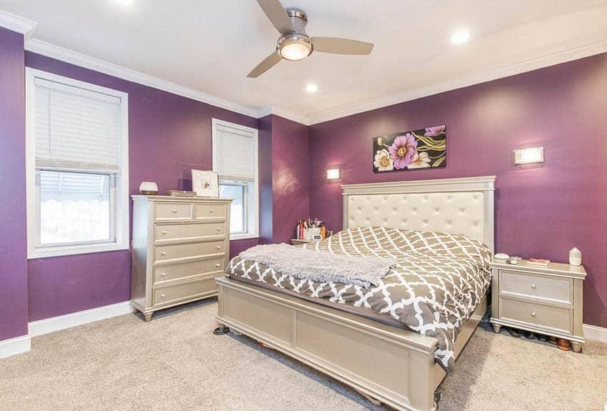 Purple and beige bedroom design