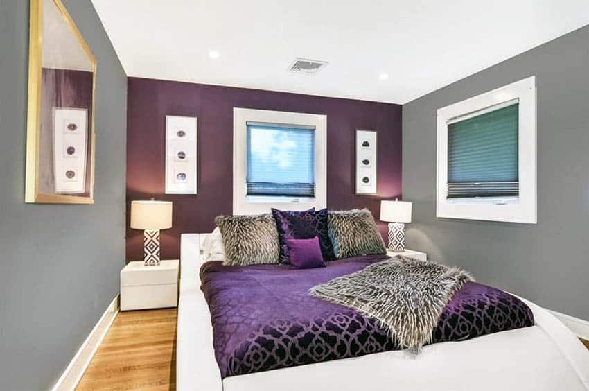 Purple and gray bedroom design