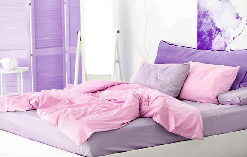 Purple and pink bedroom design