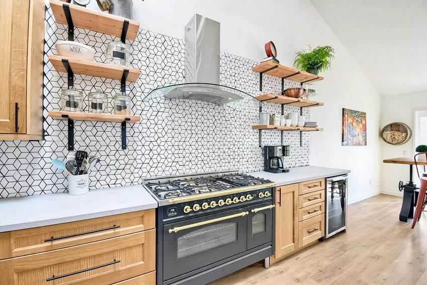 Remodeled Kitchen With Open Shelving And Tile Backsplash