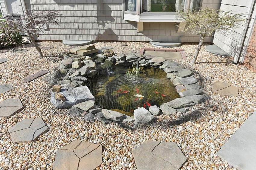 Rock Koi Pond With Gravel Landscape Design