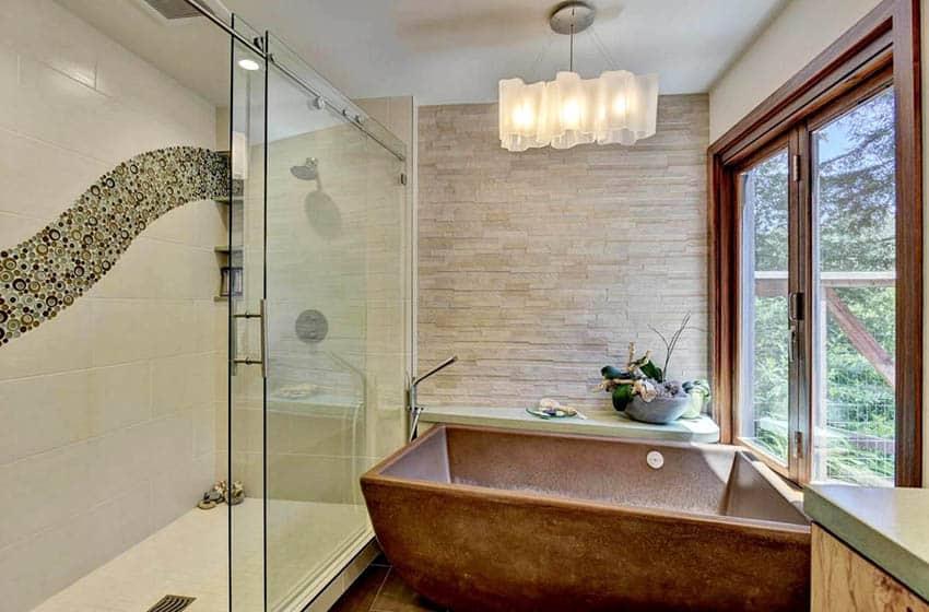 Bathroom with custom copper tub