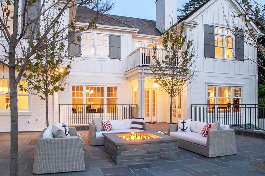 Contemporary granite fire pit patio