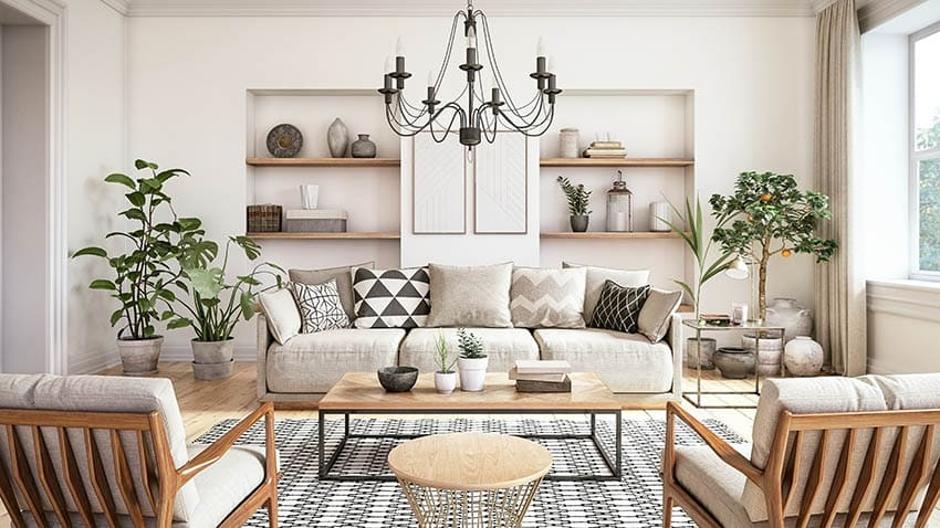 Contemporary living room coffee table staging