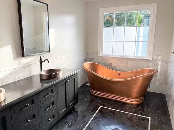 Custom hammered copper tub