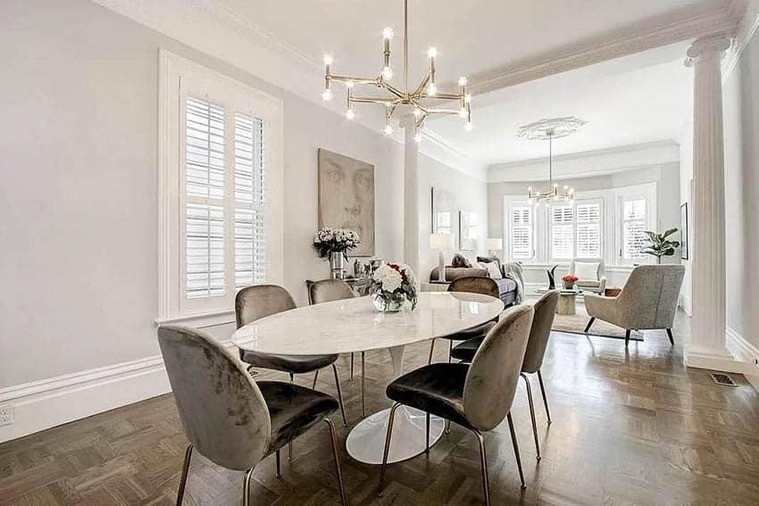 Dining room with parquet hardwood flooring