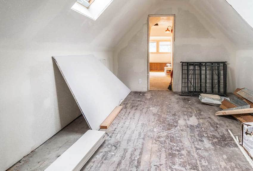 Drywall installation in attic ceiling