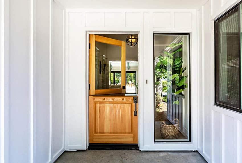 Front wood dutch door with single pane glass window