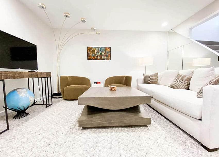 Light modern basement living room with carpet