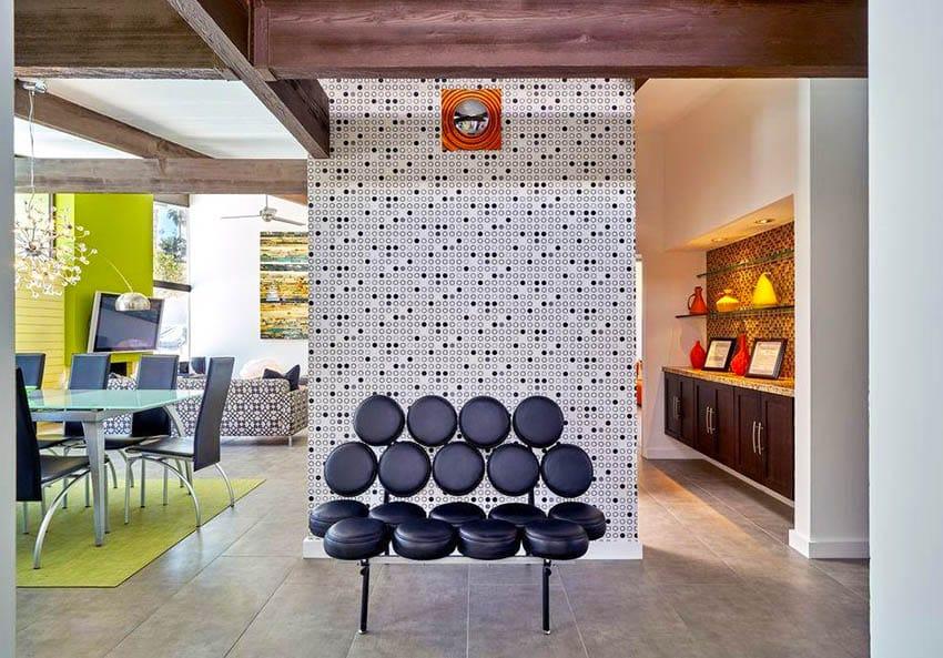 Mid century modern interior with geometric designs