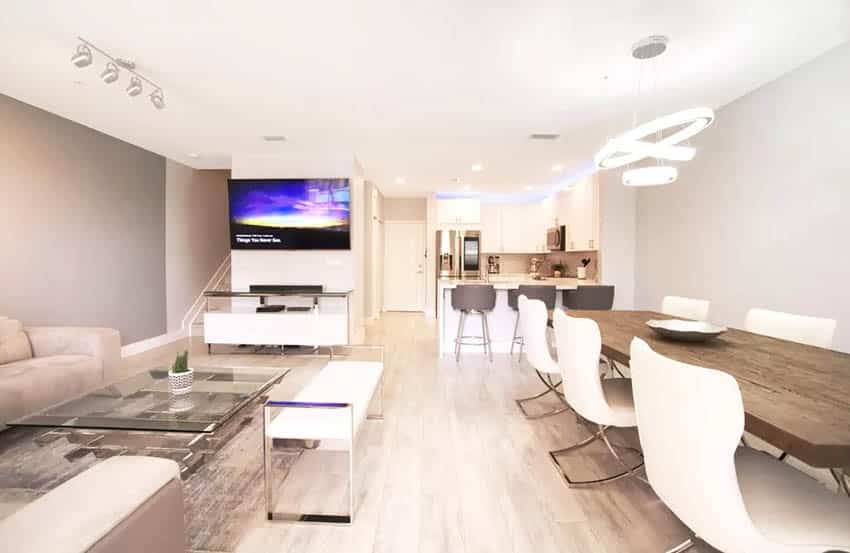 Modern basement apartment with open living room kitchen dining room