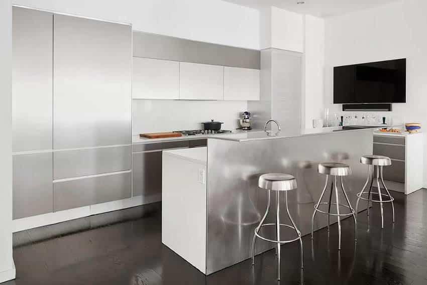 Modern basement bar with stainless steel island