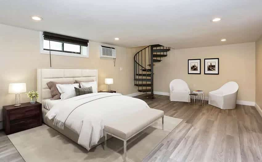 Modern basement bedroom