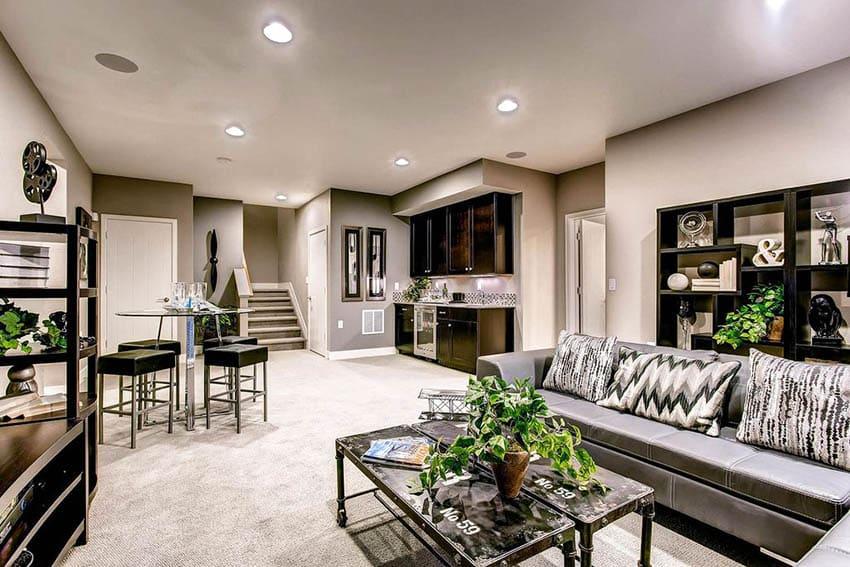 Modern basement living room with home bar