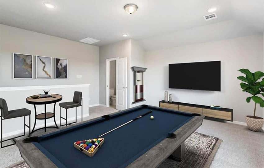 Modern basement with pool table wall mount tv