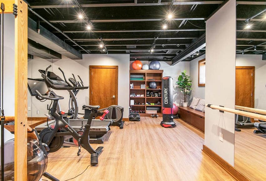 Modern basement workout home gym