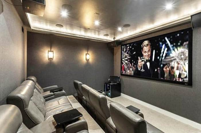 Modern movie room with projector screen