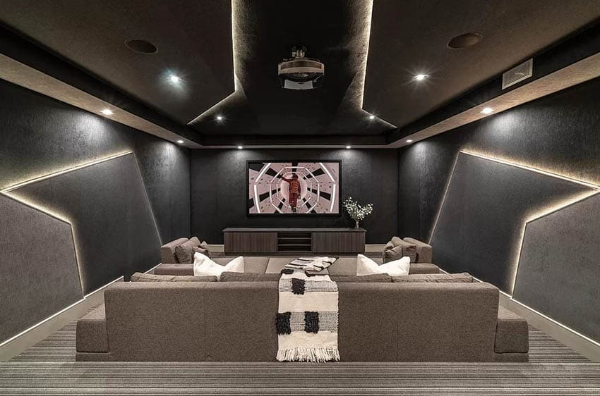 Modern movie room with wall strip led lighting