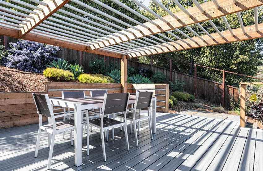 Modern pergola with wood and metal ceiling