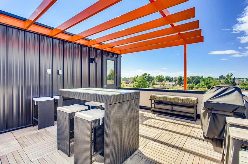 Modern rooftop deck with metal pergola