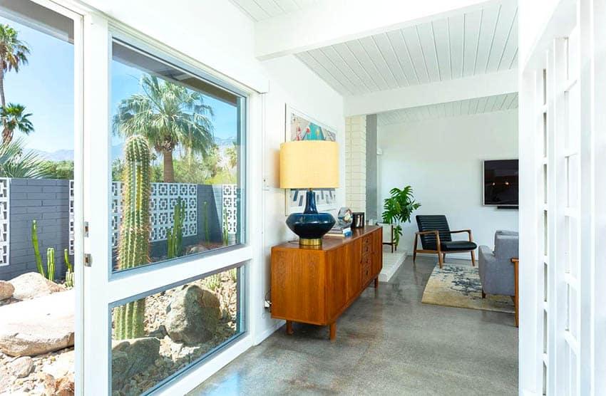 Polished concrete flooring interior