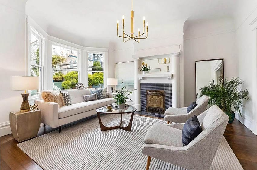Renovated family room in victorian style house