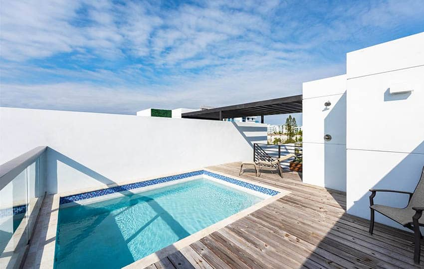 Rooftop deck pool with outdoor shower