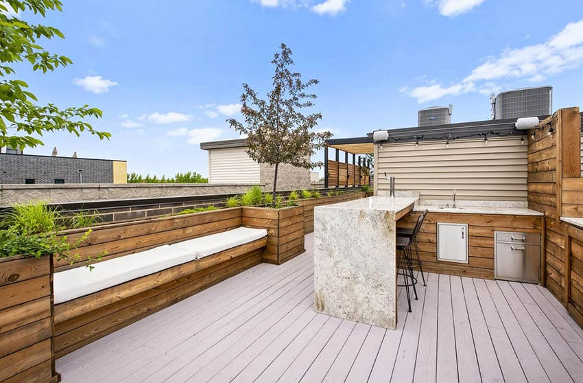Rooftop deck with outdoor kitchen