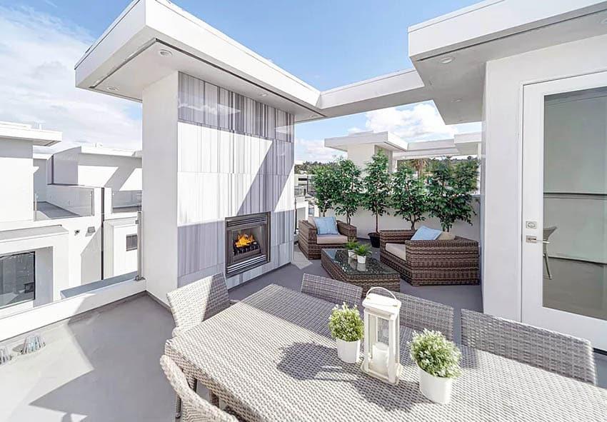 Rooftop fiberglass deck with modern outdoor fireplace