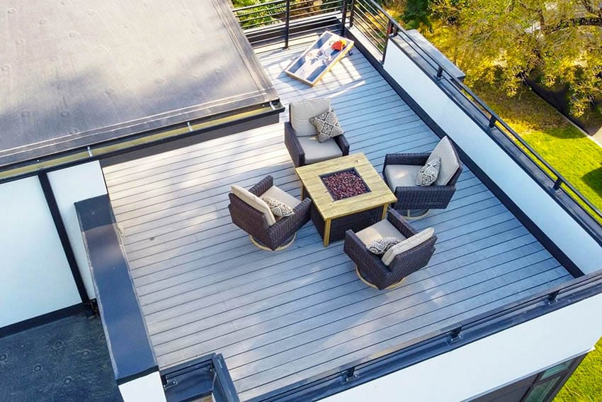 Rooftop with composite deck gas fire pit outdoor furniture