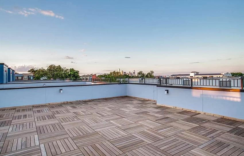 Rooftop with wood deck tiles