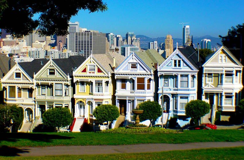 SF Victoriaanse huizen geschilderde dames