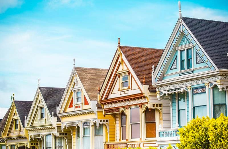 Victorian home rooftops