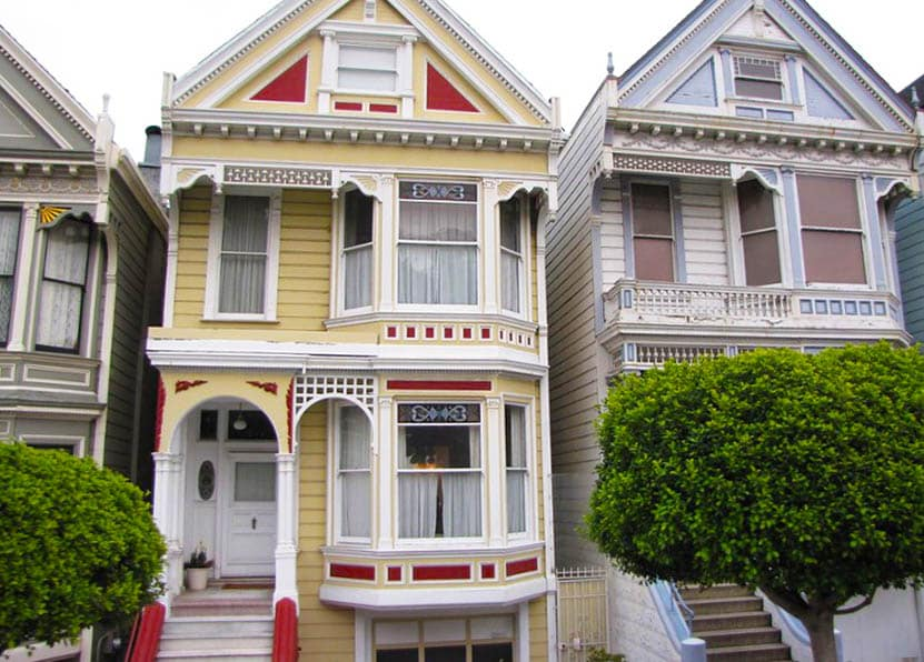 Victorian house with bay windows