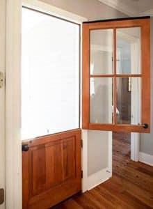 Wood dutch door with glass windows