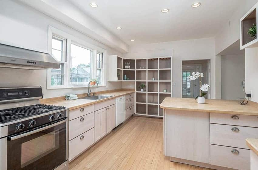 Bamboo kitchen countertops with white cabinets
