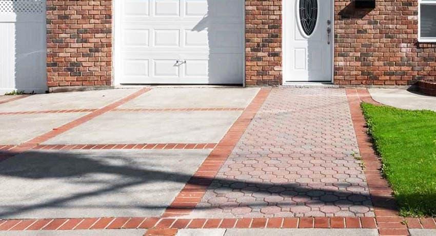 Brick paver and concrete driveway design