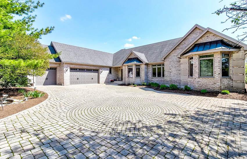 Brick paver driveway with circular design