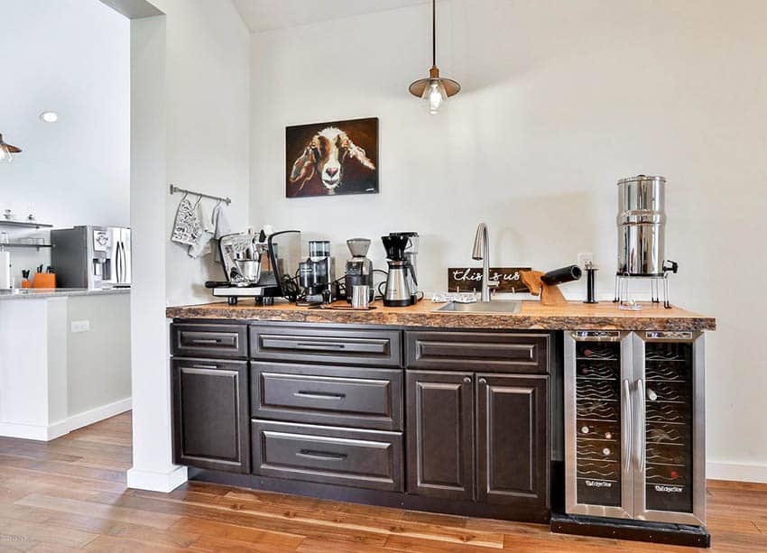 Coffee station with reclaimed wood countertop