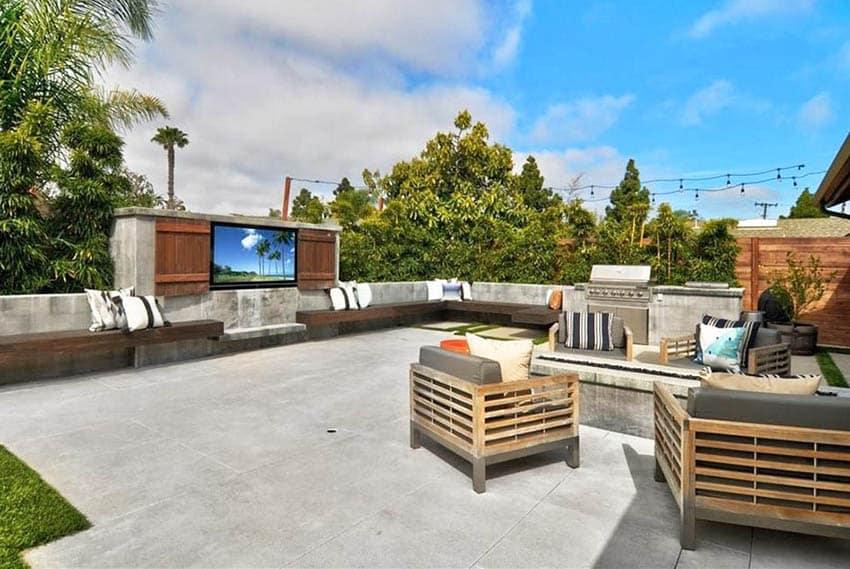 Concrete patio with outdoor tv