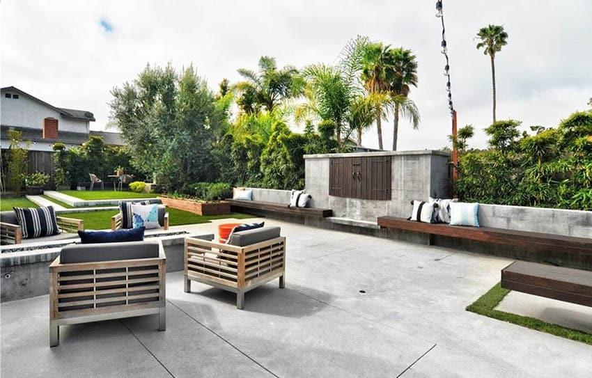 Concrete patio with outdoor tv enclosure